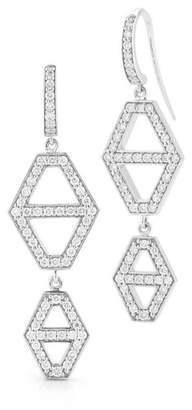 Walters Faith Keynes 18K Two Drop Signature Diamond Hexagon Earrings