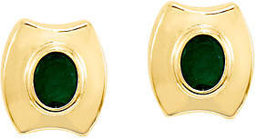 QVC Emerald Post Earrings, 14K Gold