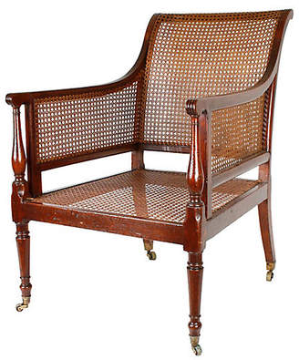 One Kings Lane Vintage Regency Caned Mahogany Library Chair - N.P.Trent Antiques