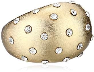 Chamak by Priya Kakkar Sterling Silver Rounded Raised with Crystal Dots Ring