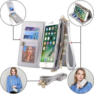 "Samsung BENIMIL iPhone 6 Case,iPhone 6s Phone Case Zipper Wallet [Wrist/Long Strap] [Kickstand Feature][Folio][Card Slots] Detachable Case Buckle Purse (iPhone 6/6s (4.7""), Silver)"