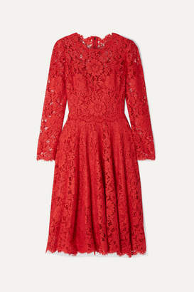 Dolce & Gabbana Corded Lace Dress - Red
