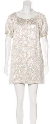 Tibi Brocade Short Sleeve Mini Dress