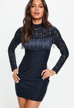Missguided Navy High Neck Long Sleeve Lace Tassel Detail Dress