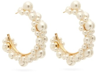 Simone Rocha Small Pearl Daisy Hoop Earrings - Womens - Pearl