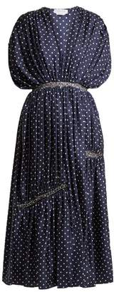 Gabriela Hearst Winston Polka Dot Ruched Silk Twill Dress - Womens - Navy White