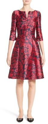 Women's Oscar De La Renta Print Mikado Fit & Flare Dress $2,490 thestylecure.com