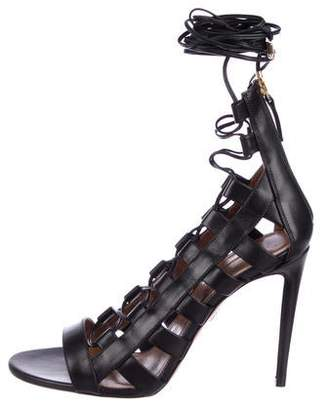 Aquazzura Leather Cage Sandals