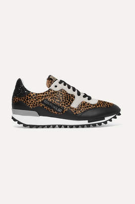Golden Goose Starland Glittered Leather And Suede-paneled Leopard-print Calf Hair Sneakers