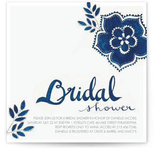 Blue Elegance Bridal Shower Invitations