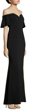 Badgley Mischka Off-The-Shoulder Flutter Sleeve Gown $615 thestylecure.com