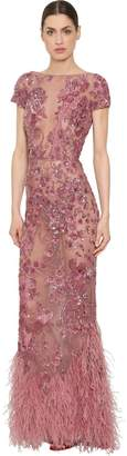 ZUHAIR MURAD Embellished Lace Gown