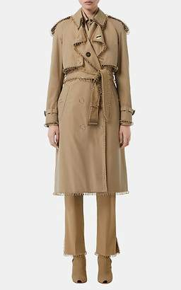 Burberry Women's Ring-Embellished Cotton Trench Coat - Beige, Tan
