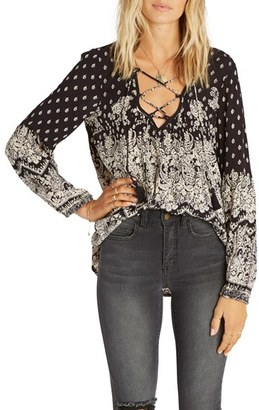 Women's Billabong Just A Dream Print Lace-Up Peasant Top $49.95 thestylecure.com