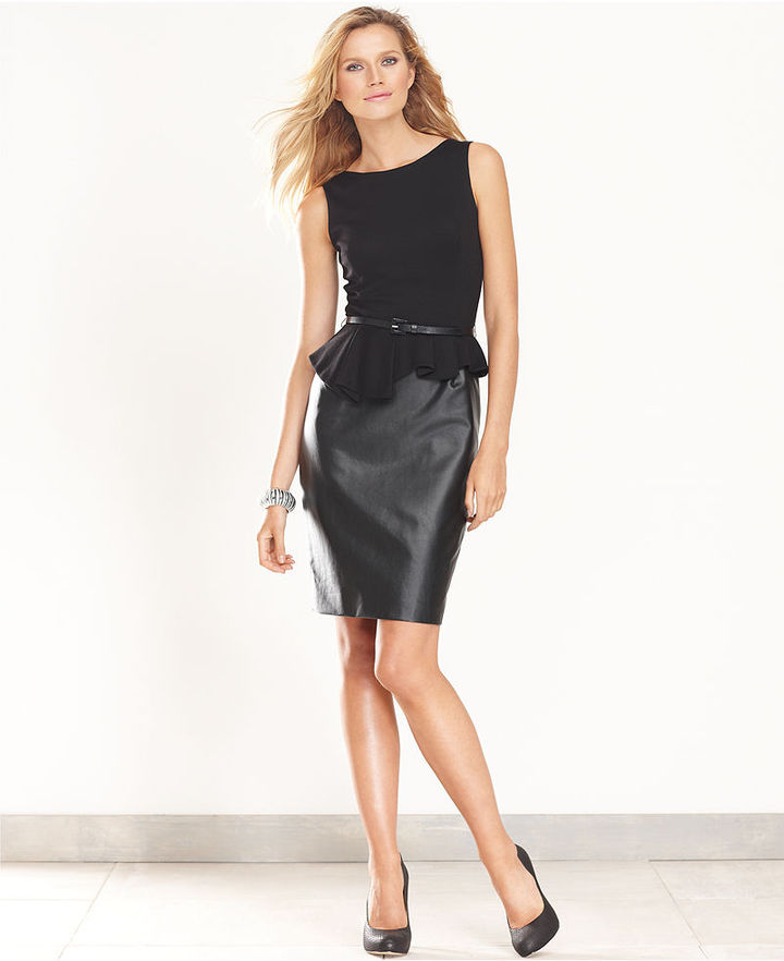 INC International Concepts Petite Dress, Sleeveless Belted Peplum Faux-Leather
