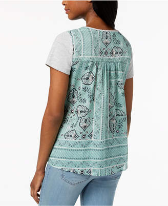 Style&Co. Style & Co Scoop-Neck Contrast T-Shirt, Created for Macy's