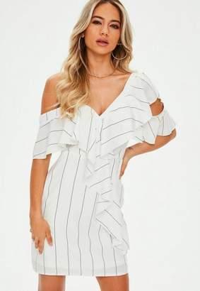 Missguided White Monochrome Stripe Asymmetric Frill Mini Dress