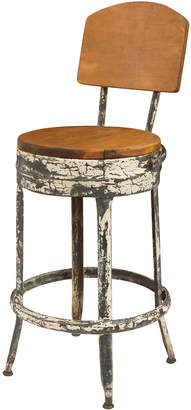 Rejuvenation Industrial Stool w/ Chipped Paint & Folding Seat Back