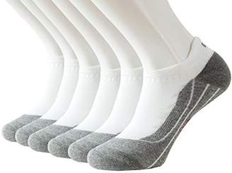 Feetalk Men's and Women's 6 Pack Running Arch Support Cushion Ankle Tab Sock - Performance Athletic Low Cut No Show Socks(White
