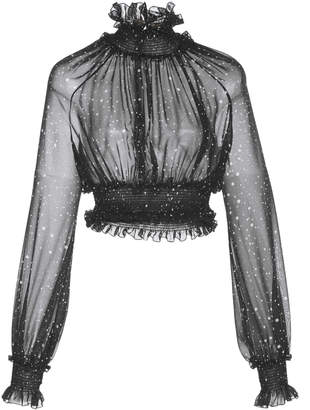 Giambattista Valli Sheer Ruched High Neck Cropped Blouse