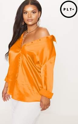 PrettyLittleThing Plus Tangerine Satin Button Front Shirt