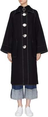 PORTSPURE Flared sleeve contrast topstitch coat