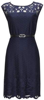 Wallis Navy Belted Lace Fit and Flare Dress