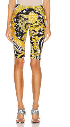 Versace Print Biker Short in Black & Yellow | FWRD