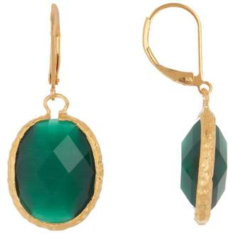 Rivka Friedman 18K Gold Clad Faceted Dark Green Cat's Eye Crystal Satin Oval Hammered Earrings