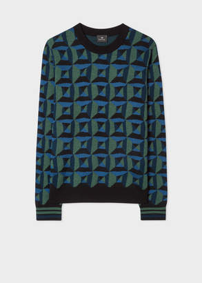 Paul Smith Men's Blue And Green Geometric Merino Wool-Blend Sweater