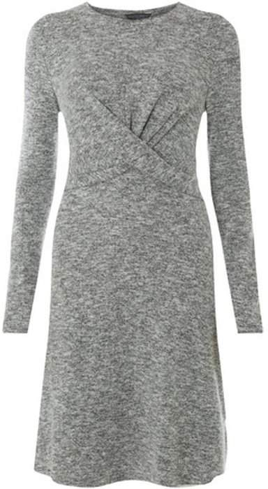 Womens **Tall Grey Burshed Jersey Knot Front Fit and Flare Dress