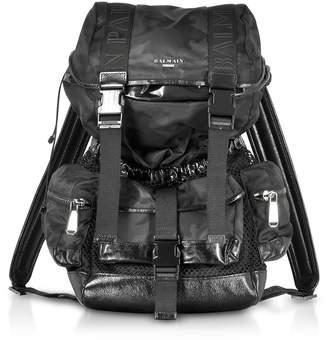 Balmain Black Camouflage Nylon And Leather Elite Backpack