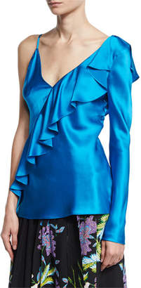 Diane von Furstenberg Satin Asymmetric Ruffle Blouse, Turquoise