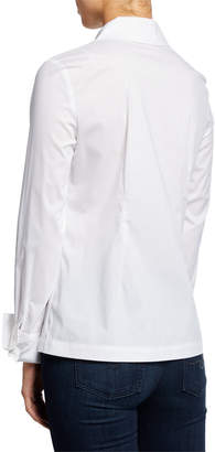 Neiman Marcus Notched Collar Button-Down Fitted Shirt