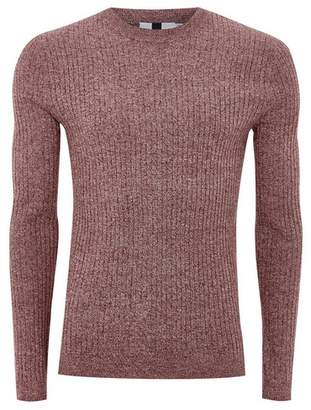 Topman Mens Red Burgundy And White Twist Muscle Sweater
