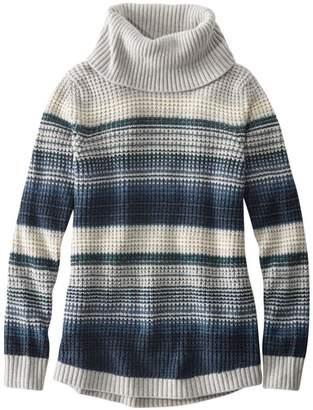 L.L. Bean L.L.Bean Women's Waffle Stitch Sweater, Cowlneck Pullover Multi-Stripe