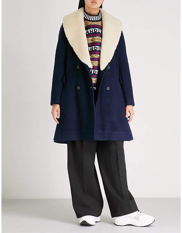 Shearling collar wool coat