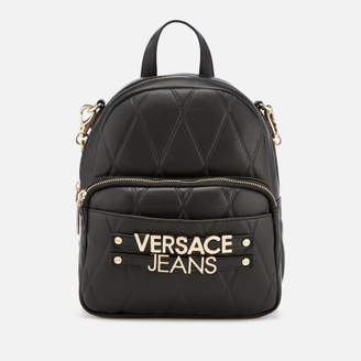 Versace Women's Quilted Logo Backpack with Chain Detail - Black