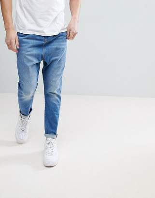 Asos Drop Crotch Jeans In Dusky Blue