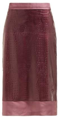 Sies Marjan Sula Crocodile Effect Midi Skirt - Womens - Purple