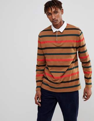 Asos Relaxed Long Sleeve Stripe Rugby Polo