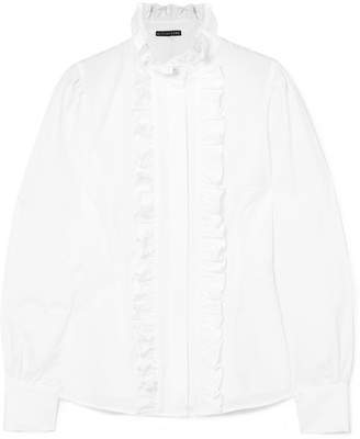 ALEXACHUNG Frida Ruffled Cotton-seersucker Blouse - White
