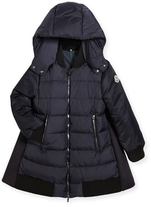 Moncler Blois Quilted and Wool-Blend Puffer Jacket, Size 4-6 $645 thestylecure.com