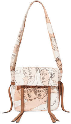 Loewe Faces Small Leather-trimmed Printed Canvas Shoulder Bag - Blush