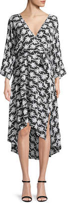 Diane von Furstenberg Long-Sleeve Asymmetric-Hem Floral-Print Silk Wrap Dress