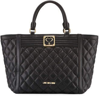 Love Moschino Quilted Faux-Leather Top Handle Bag, Multi