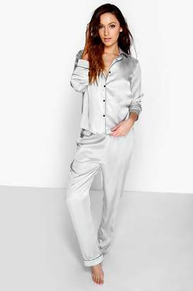 boohoo Satin Contrast Piping Button Through Pyjamas