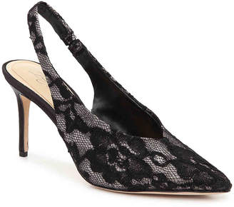 Vince Camuto Imagine Melea Pump -Silver Metallic/Black Lace Fabric - Women's