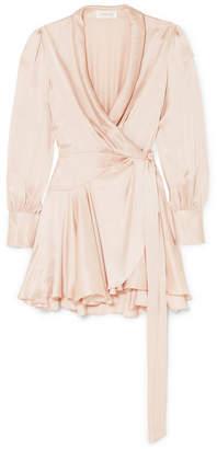 Zimmermann Washed-silk Wrap Mini Dress - Baby pink