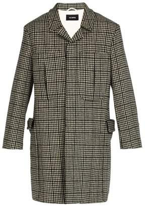 Raf Simons Oversized Houndstooth Wool Coat - Mens - Black White